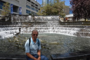 Beautiful fountain near sports arena in Toronto