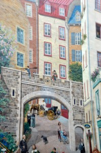 A huge mural painted in the center of old town. Feels like you can walk right into the street and meet the people there.
