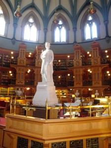 The impressive library in the Parliament building. http://www.parliamenthill.gc.ca/