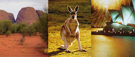 Australia ancient domes of the Olgas, see kangaroos, see the Sydney Opera House